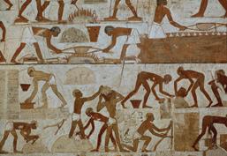 Slaves making mud bricks